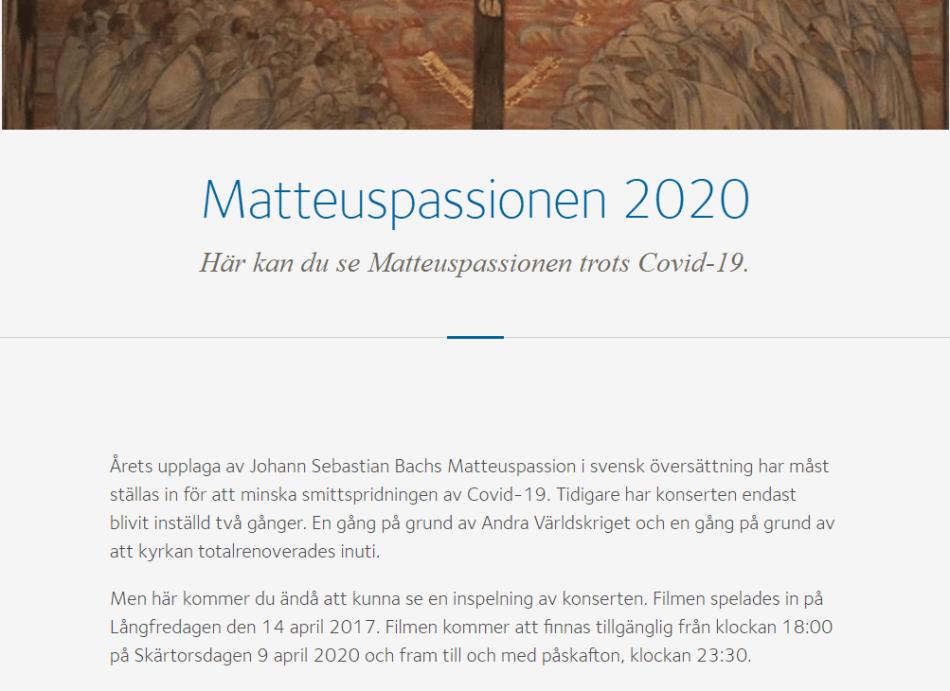 Concerto in streaming: La passione di Matteo [J.S. Bach] 1